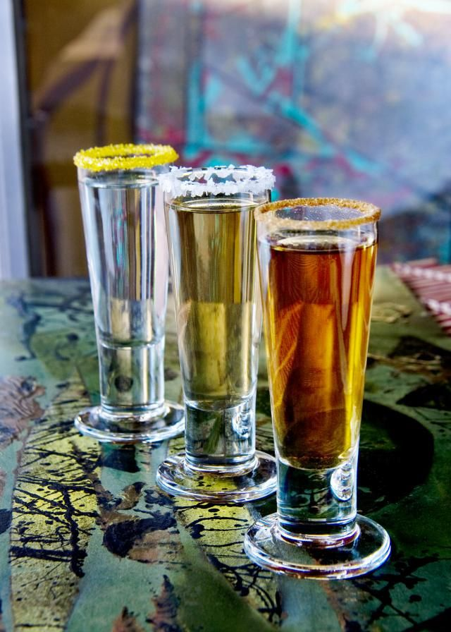 Step up your tequila shot game! Blanco, Reposado, and Anejo Tequila Shots with fun sugar and salt rims