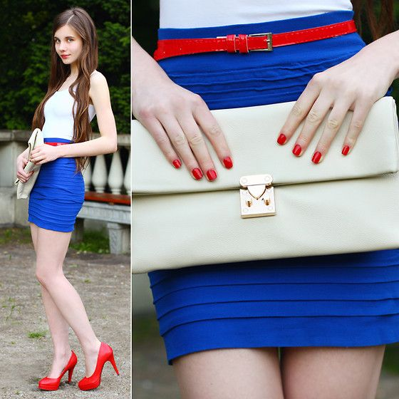 H White Top, Fancy Dress Store Blue Skirt, Red Belt, Toria Blanic Red Leather Heels, Vj Style Cream Clutch Bag