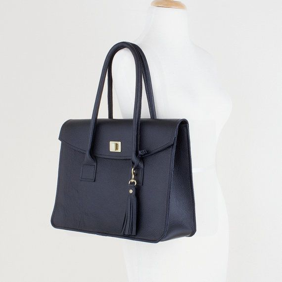 Black Leather Top Handle Handbag Women's Leather by JillyDesigns