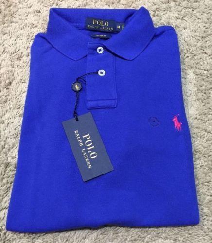 New-Ralph-Lauren-Men-039-s-Custom-Fit-Mesh-Polo-NWT-Royal-Blue-Size-Small-Medium