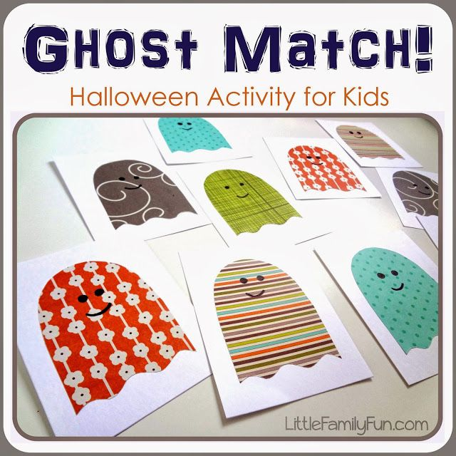 Fun and easy Halloween activity for kids. Ghost Matching Game!