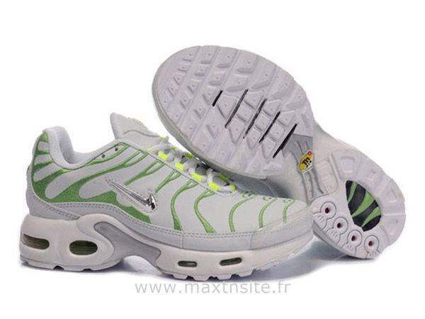 Chaussures de Nike Air Max Tn Requin Femme Blanc et Vert Nike Tn Blanche