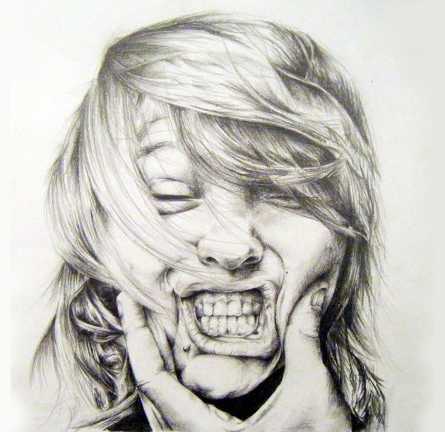 Influenced by relevant contemporary artists, this creative pencil drawing immediately commands attention. A creative and well-executed portrait.