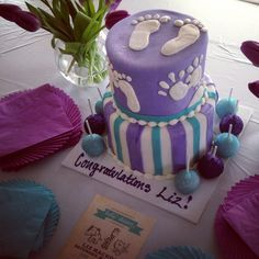 Great Purple And Aqua Baby Shower Cake