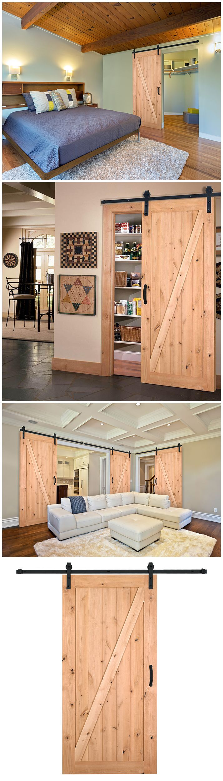 The knotty alder wood of this barn door adds so much character to a bedroom, living room or kitchen. Everything you'll need for an easy installation is included in this kit, including the unfinished wood door slab and the sliding door hardware.