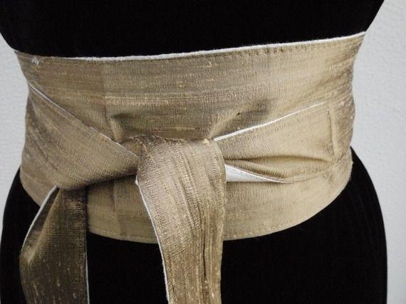Nouvelle ceinture OBI soie sauvage et lin rayure dorée réversible