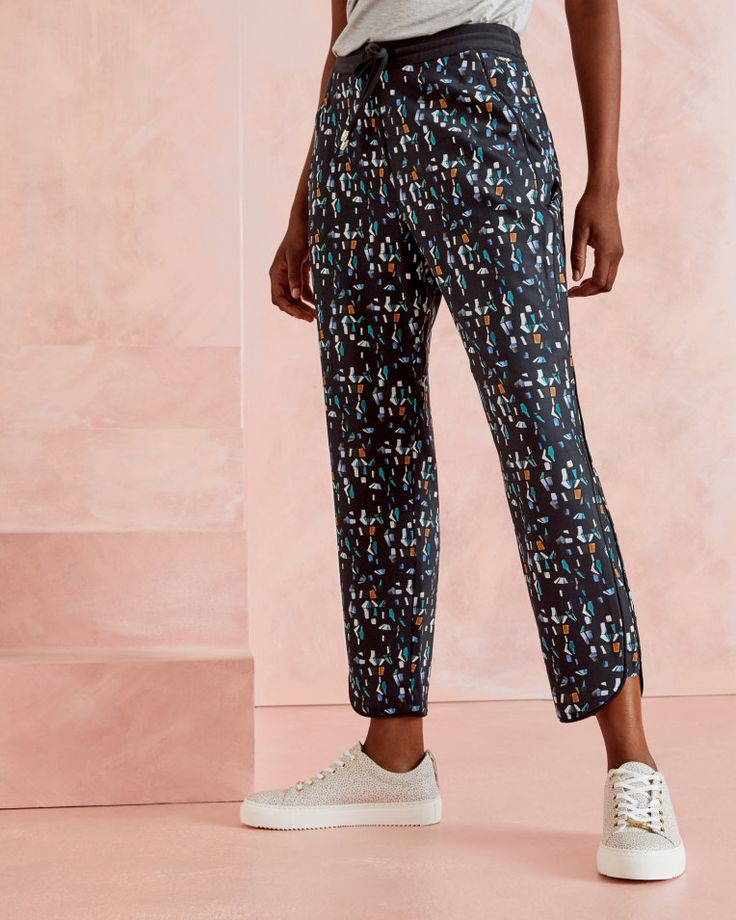 Printed jogger trousers - Navy | Trousers and Shorts | Ted Baker UK