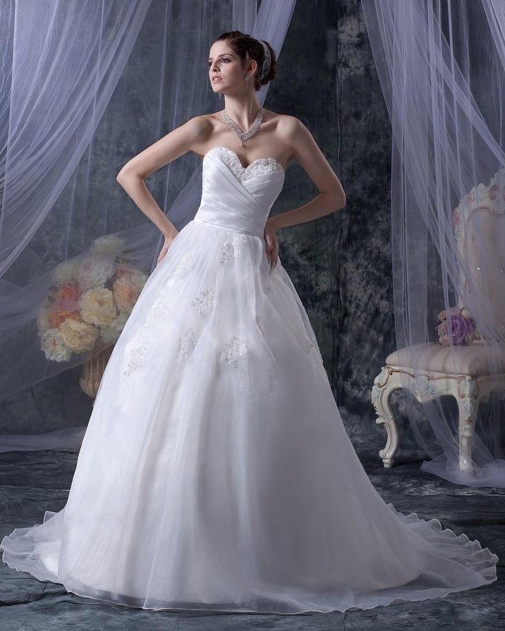 Strapless Organza Applique Floor Length Wedding Dress With Chapel Train,US$257.98   Read More:     http://www.weddingsred.com/index.php?r=strapless-organza-applique-floor-length-wedding-dress-with-chapel-train.html