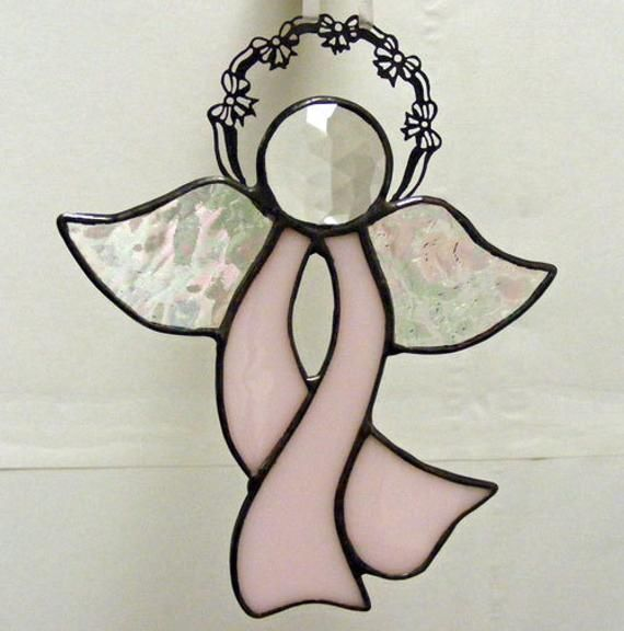 Stained Glass Ribbon Awareness Angel Pink