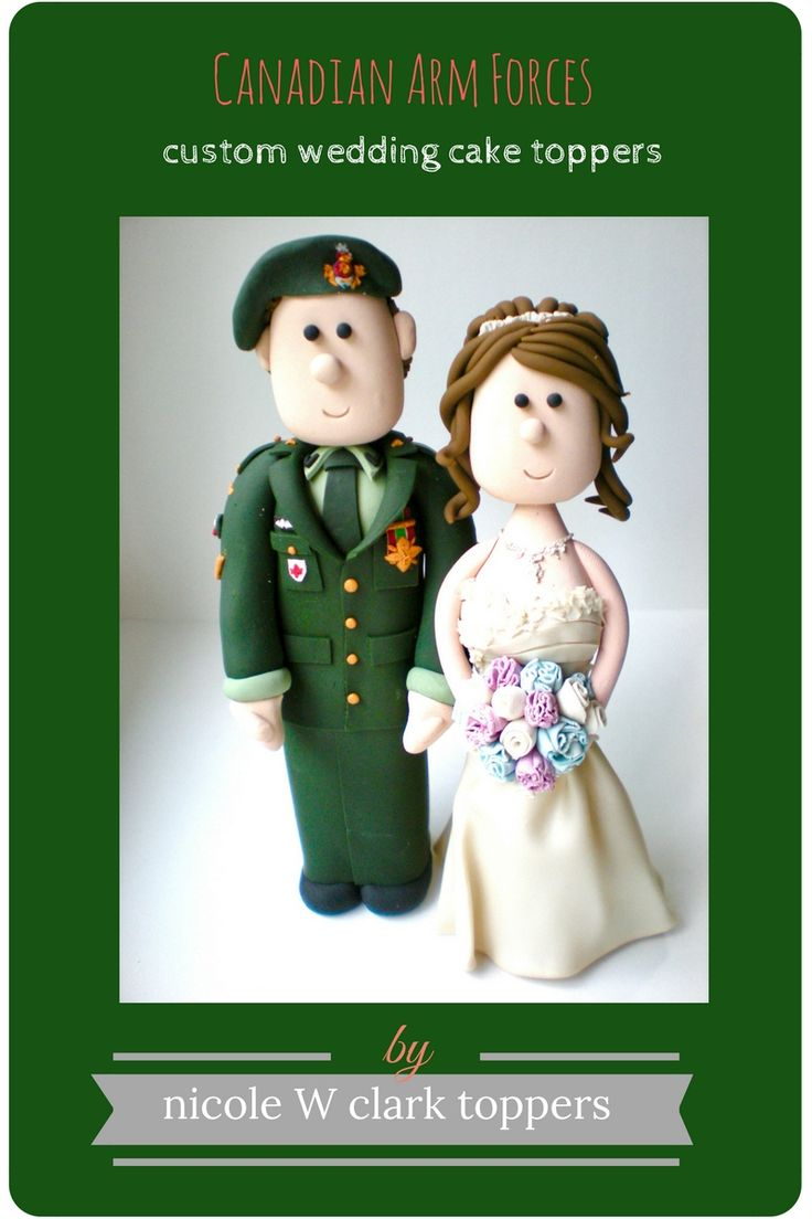 Canadian Arm Forces Wedding. Army Uniform Wedding Cake Topper with Cats and Dogs. Custom Military Cake Tops made to look like you. Army Wedding, Military Wedding cake toppers by Nicole W Clark. www.nicolewclark. #army wedding #military wedding # military cake topper