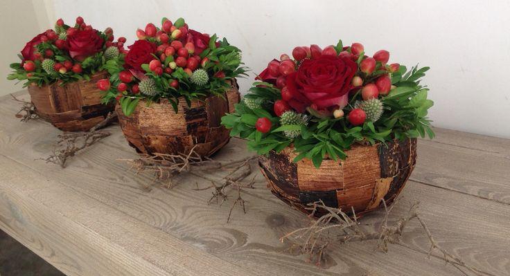 Autumn balls, red roses