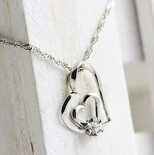 Valentines Gift For Her Heart Shape Sterling Silver Necklace Crystal Pendant