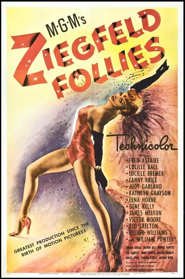 """""""Ziegfeld Follies"""" (1945). COUNTRY: United States. DIRECTOR: Vincente Minnelli, Lemuel Ayers, Roy Del Ruth, Robert Lewis, George Sidney, Merrill Pye, Charles Walters. CAST: William Powell, Fred Astaire, Judy Garland, Lucille Ball, Gene Kelly, Esther Williams, Hume Cronyn, Keenan Wynn, Lena Horne, Lucille Bremer, Cyd Charisse"""