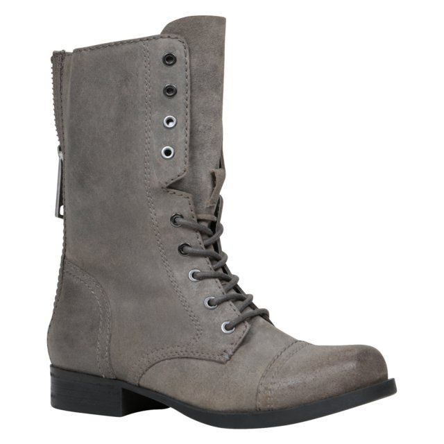 BROOKLYN - ALDO Shoes. - Military boot. - Round toe. - Distressed upper. - Back zipper closure. - Heel Height: 1.75 in. - Shaft Height: 7 in.