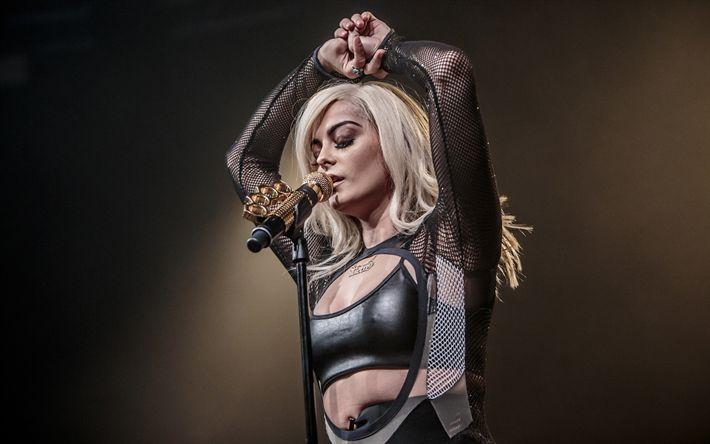 Descargar fondos de pantalla Bebe Rexha, cantante Estadounidense, retrato, rubia, tatuaje, joven y bella cantante
