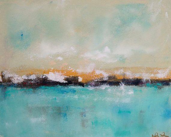 Turquoise Seascape Coastal Ocean Painting by lindadonohue on Etsy, $245.00