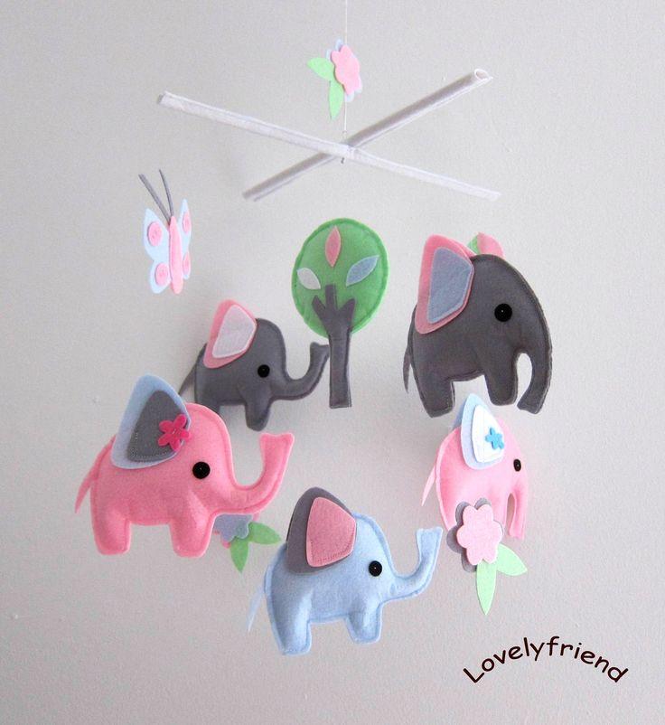 Pink Elephant Nursery Theme | ... - Felt Mobile - Nursery mobile -  grey and pink elephant design