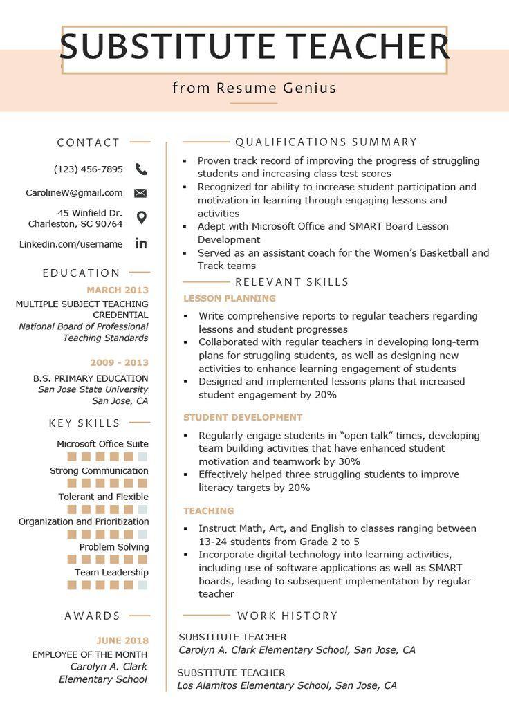 Substitute Teacher Resume Samples & Writing Guide Resume