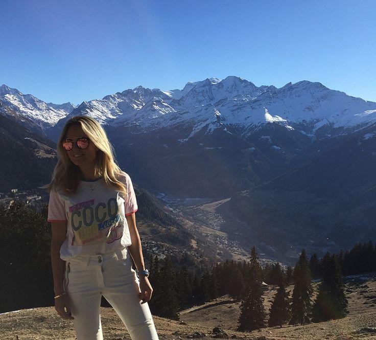 Sofi Fahrman in a Chanel T-Shirt, J. Lindeberg Ski Pants and Prada Sunglasses