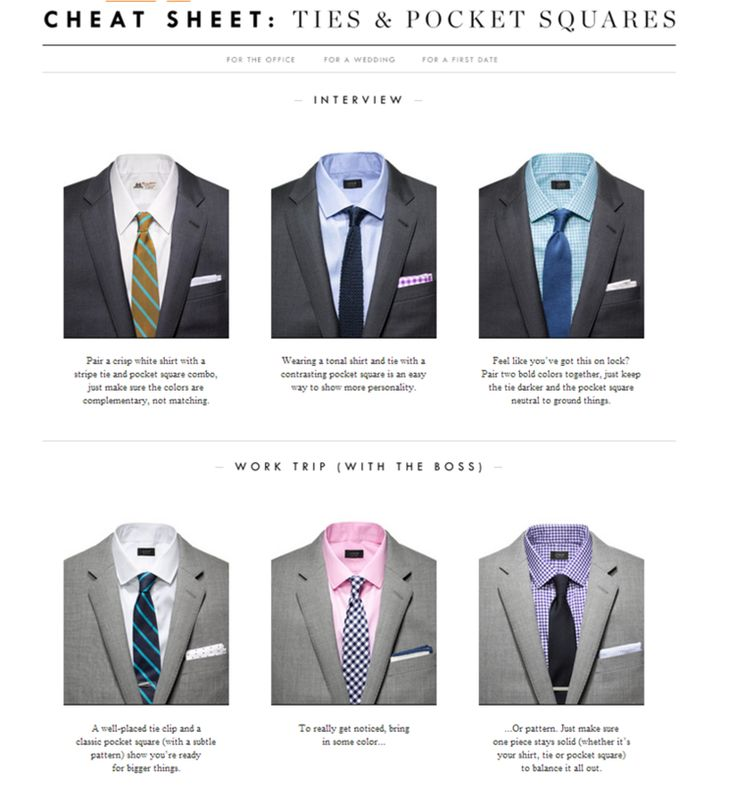 Tie And Pocket Square Cheat Sheet