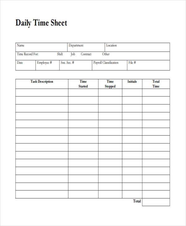 33  free timesheet templates