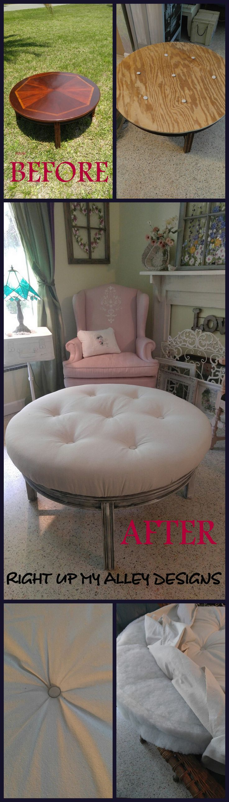 Round coffee table,Ottoman coffee table,Tufted Ottoman. Before and After, Coffee table to Tufted Ottoman See it here: https://www.etsy.com/listing/384941990/round-coffee-tabletufted-ottomantufted?ref=shop_home_feat_4