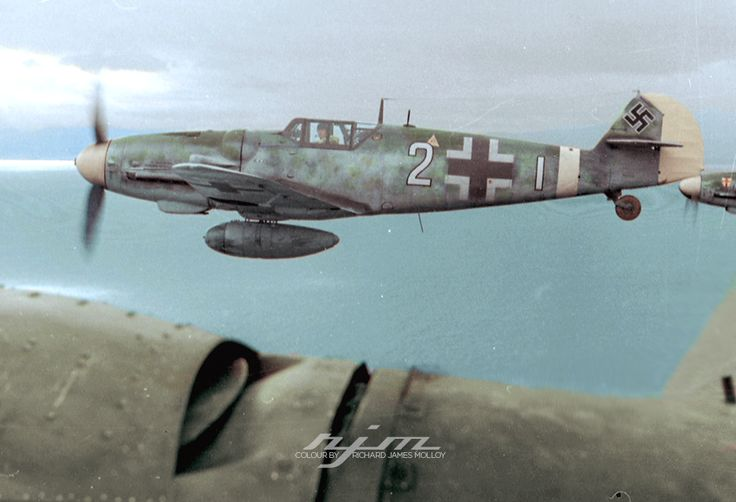 """Bf 109 G-6/Trop W.Nr. 14. ... """"Weisse2"""", Lt. Josef Emil Clade, 7./JG 27, whilst escorting the He 111 H transporting Gen. Fiebig and Holle to Crete, December 1943."""
