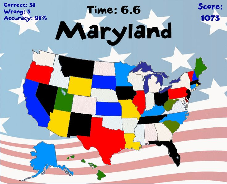 Click States: You get 60 seconds to click on as many states, capitals, or state nicknames as you can! RoomRecess.com