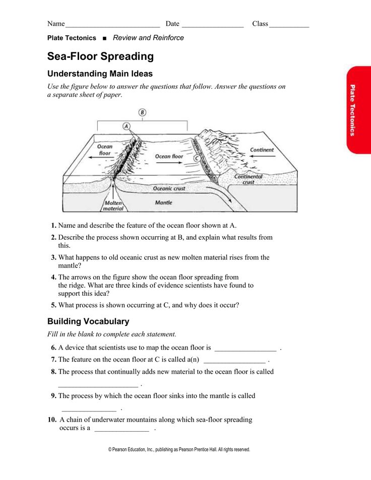 The Best Sea Floor Spreading Worksheet Answers Pearson