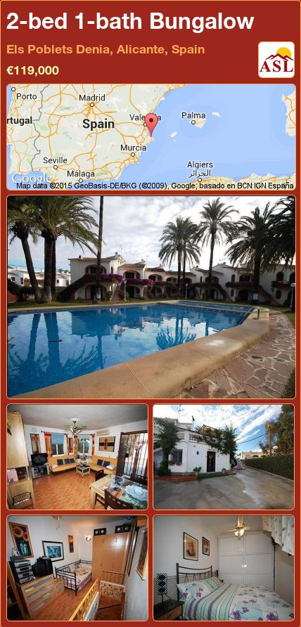 2-bed 1-bath Bungalow in Els Poblets Denia, Alicante, Spain ►€119,000 #PropertyForSaleInSpain