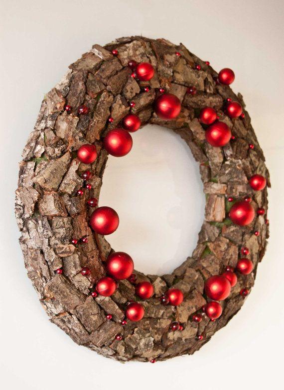 Christmas door wreath - Christmas wreath - Winter wreath - brown, red. $36.00, via Etsy.