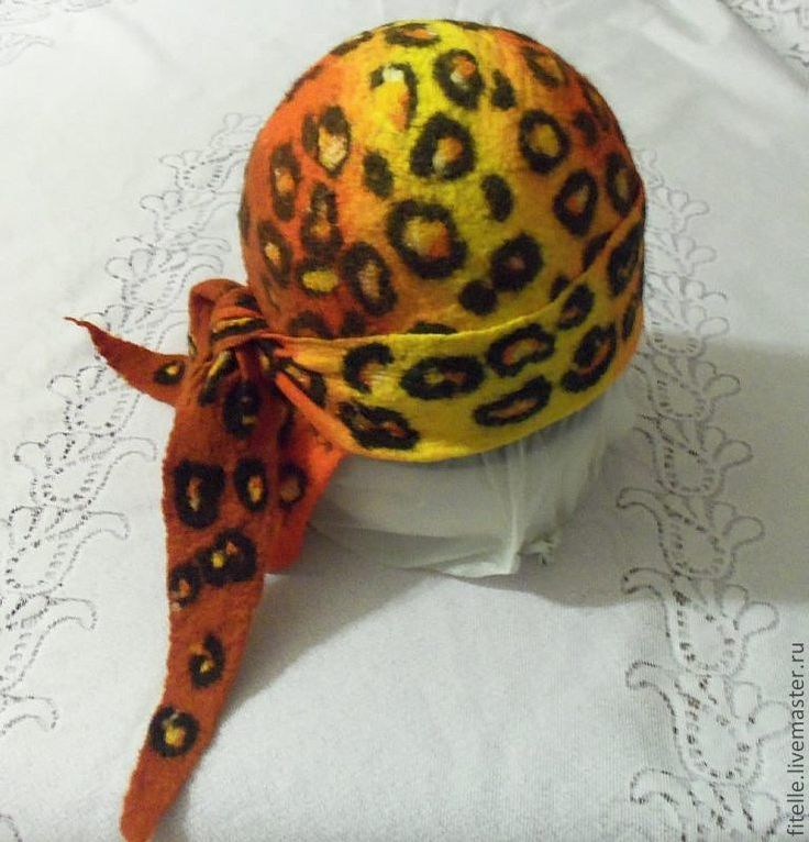 """Купить Шапка """" Бандана леопардовая"""" - оранжевый, звериная расцветка, бандана, Валяние, леопардовый принт"""