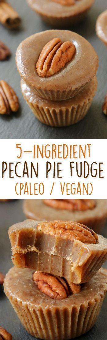 Healthier 5-Ingredient Pecan Pie Fudge – no candy thermometer needed! {naturally paleo, vegan, and gluten-free}