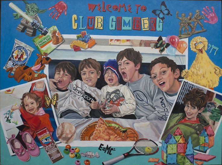 "CLUB GOMBERG oil on canvas 48""x36"" A new take on family portraits #portraits #family #kids #grandchildren #"