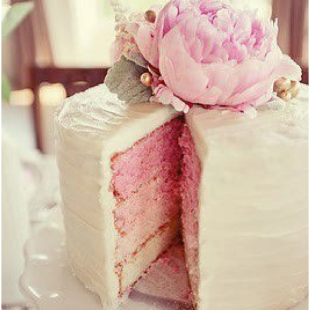love the peony on the top...so much better than tiered wedding cakes
