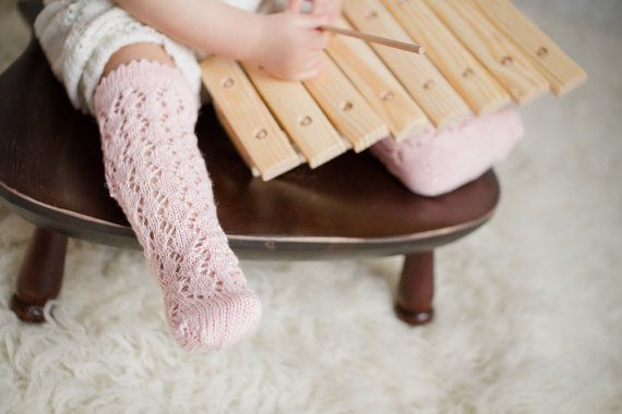 KNIT BABY SOCKS pale pink lace socks Baby shower by MarumaKids