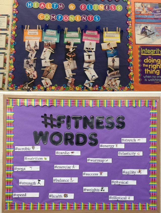 Fitness themed lesson ideas, best practices, and bulletin boards in honor of March being National Nutrition Month.