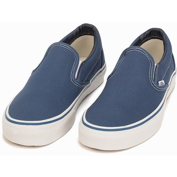 Vans Classic Slip-On ($115) ❤ liked on Polyvore featuring shoes, everyday shoes, navy, womens-fashion, round cap, vans footwear, slip on shoes, navy blue slip on shoes and vans shoes