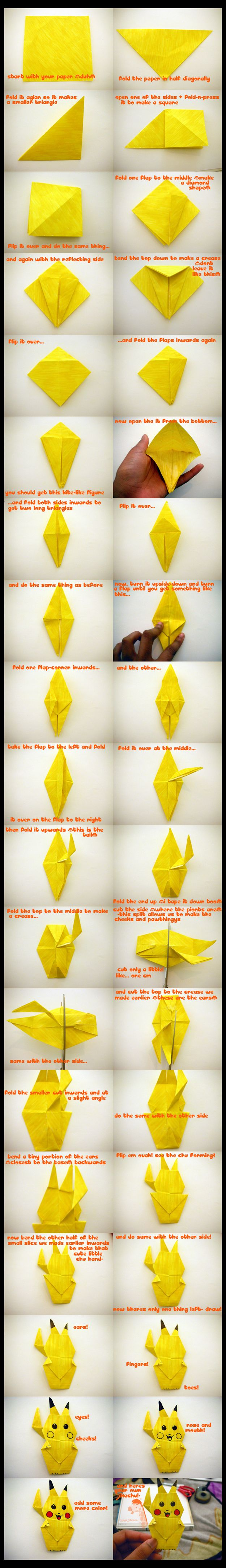 How To Make An Origami Pikachu. These instructions are terrible but I got it done! So cute :)