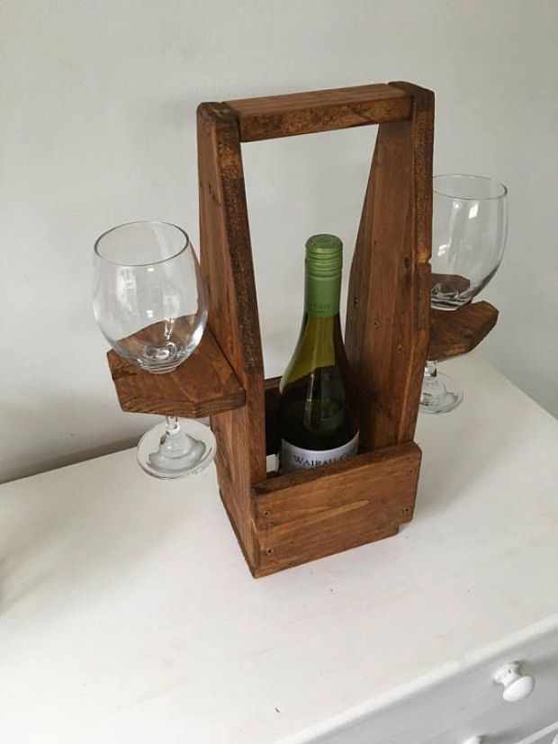 This Wooden Wine Bottle And Glass Holder Is Freestanding It Would