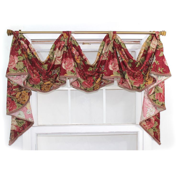 'Delora' Rouge 3-scoop Victory Swag Valance | Overstock.com Shopping - The Best Deals on Valances