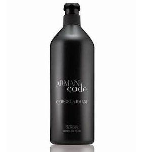Armani Code 33.8 oz oz / 1000 ml 1 liter Shower Gel by Armani Code Shower Gel. $108.00. Armani Code Shower Gel. Armani Code 33.8 oz oz / 1000 ml Shower Gel. Armani Code 33.8 oz oz / 1 liter Shower Gel. Armani Code Shower Gel Giorgio Armani Armani Code 33.8 oz oz / 1 liter Shower Gel Code combines a citron cocktail of bergamot and lemon with soft notes of olive tree blossom, warmed with Guaiac wood and Tonka Bean. A sexy fragrance blend for the contemporary man in the know. N...
