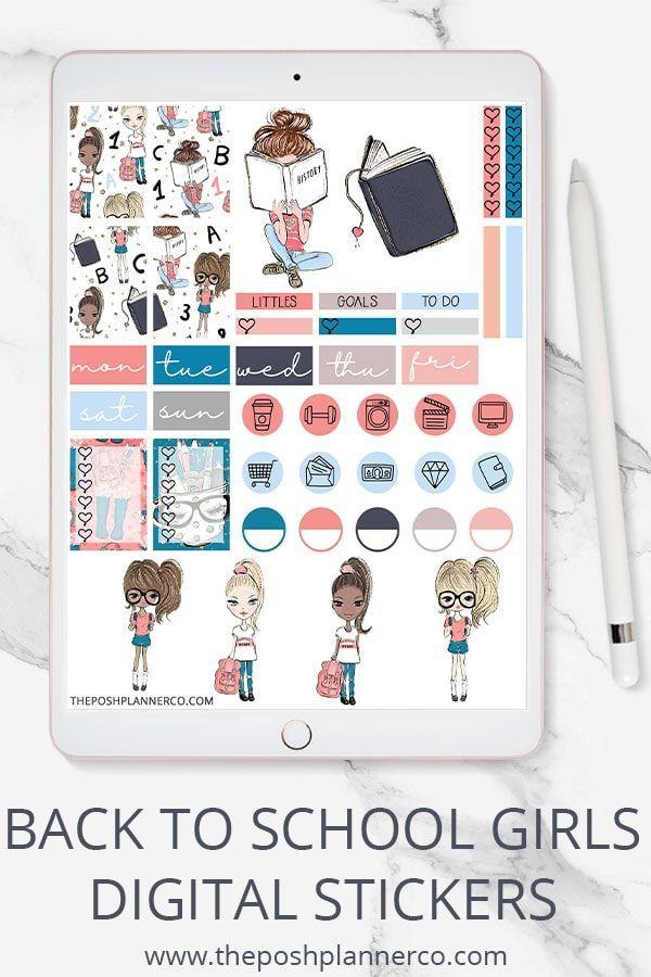 Digital Planner Stickers - Back to School Girls Stickers