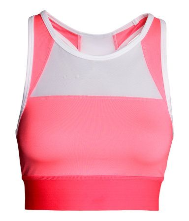 Fully lined, color-block sports bra in fast-drying, breathable ...