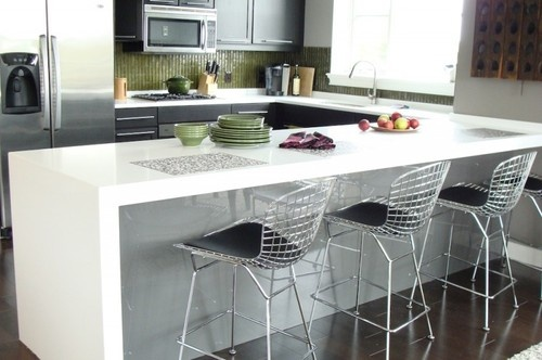 "2 ½"" Thick Mitered Pure White Caesarstone countertops- United Marble Fabricators"