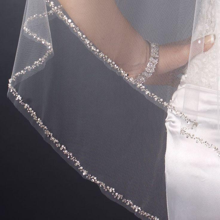 Two Layer Beaded Edge Fingertip Wedding Veil--Affordable Elegance Bridal -