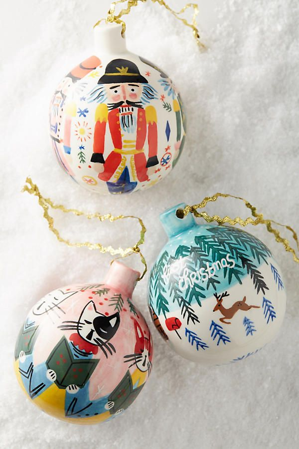 Painted Yuletide Ornaments, $24