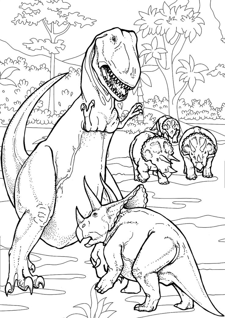 Dinosaurs Battle - Dinosaurs Coloring Pages for Adults ...