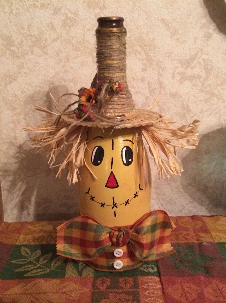 Scarecrow wine bottle. Kimmie's kreative jaz.