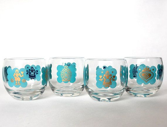 Set of Four 4 Vintage Gold and Turquoise Mid Century